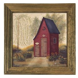 Folk Outhouse with Half Pint Print with Rustic Tobacco Lath Board Frame
