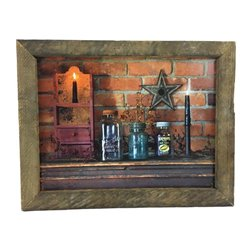 Primitive Mason Jar Print with Rustic Tobacco Lath Board Frame