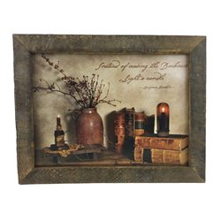 Light a Candle Quote Print with Rustic Tobacco Lath Board Frame