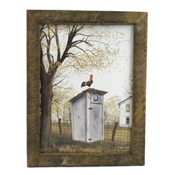 Morning Commute Rooster & Outhouse Print with Rustic Tobacco Lath Board Frame