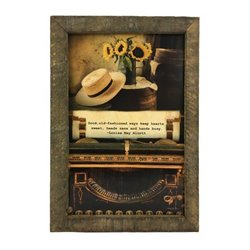 Old Fashioned Ways Quote Print with Rustic Tobacco Lath Board Frame