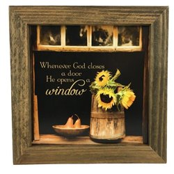 God Opens Windows Quote Print with Rustic Tobacco Lath Board Frame