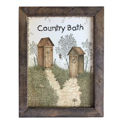 His & Hers Outhouse Country Bath Print with Rustic Tobacco Lath Board Frame