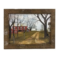 Old Dirt Road Farmhouse Print with Rustic Tobacco Lath Board Frame
