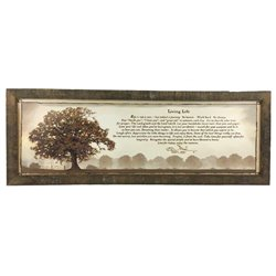 Living Life Tree Print with Rustic Tobacco Lath Board Frame