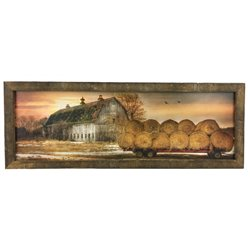 Sunset on the Farm Print with Rustic Tobacco Lath Board Frame