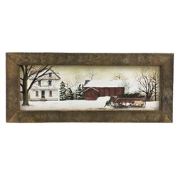 Winter Christmas Trees for Sale Print with Rustic Tobacco Lath Board Frame