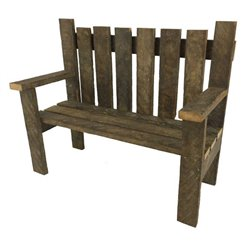 Decorative Bench with Back and Arms from Reclaimed Tobacco Lath Board