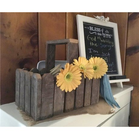 Decorative Basket with Handle from Reclaimed Tobacco Lath Board