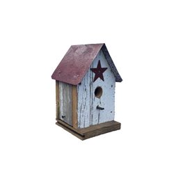 Barn Wood Medium Church Bird House w/ Wire Hanger & Clean Out