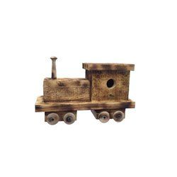 Train Engine Bird House with Twisted Rope Hanger & Clean Out in Burnt Pine