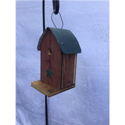 Barn Wood Round Roof Wren Bird House w/ Wire Hanger & Clean Out