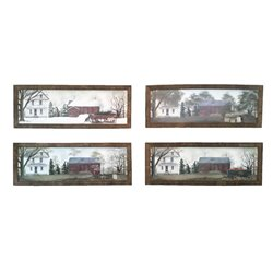 Four Season Prints with Rustic Tobacco Lath Board Frame