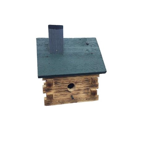 Log Cabin Bird House with Twisted Rope Hanger & Clean Out Door