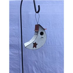 Small Moon Shaped Bird House with Wire Hanger & Clean Out Door