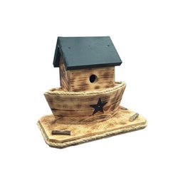 Noah's Ark Bird House with Twisted Rope Hanger & Clean Out in Burnt Pine