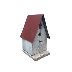 Barn Wood Wren Bird House with Wire Hanger & Clean Out