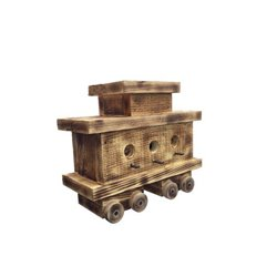 Train Caboose Bird House with Twisted Rope Hanger & Clean Out in Burnt Pine