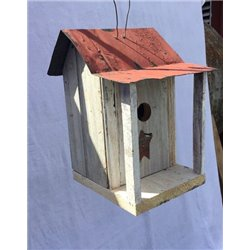 Barn Wood Hanging Bird House with Porch, Wire Hanger Twisted Rope Hanger & Clean Out in Burnt Pine