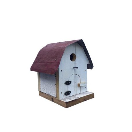 Hip Roof Barn Bird House with Wire Hanger & Clean Out