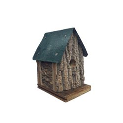 Cabin Style Hanging Wren Bird House in Bark Wood