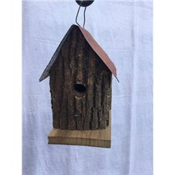 Cabin Style Hanging Wren Bird House in Bark Wood-Red Roof