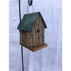 Cabin Style Hanging Wren Bird House in Bark Wood-Green Roof
