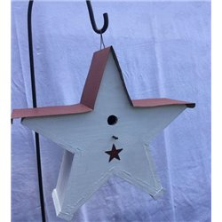 Star Shaped Bird House with Wire Hanger & Red Roof