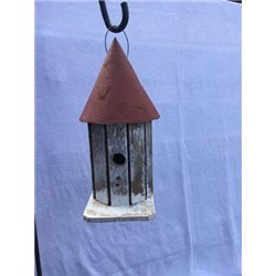 Small Round Tower Bird House w/ Wire Hanger & Clean Out