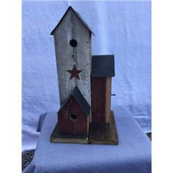 Barn Wood Bird Town Bird Houses - 3 Houses with Perches