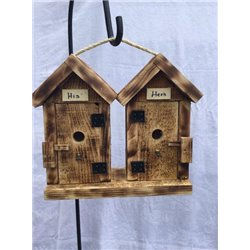 His and Hers Hanging Bird Houses in Burnt Pine Wood