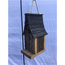 Barn Wood Wren Steeple Bird House with Twist Rope Hanger & Clean Out Door