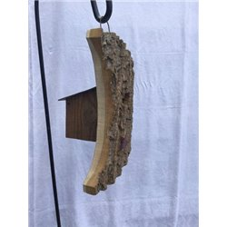 Moon Shaped Bird House w/Wire Hanger & Clean Out Door in Bark Wood