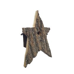 Star Shaped Bird House w/Wire Hanger & Clean Out Door in Bark Wood