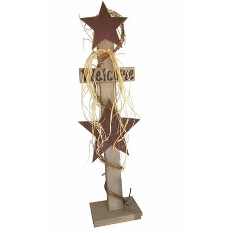 Primitive Decorative Rustic Star Welcome Sign on Post