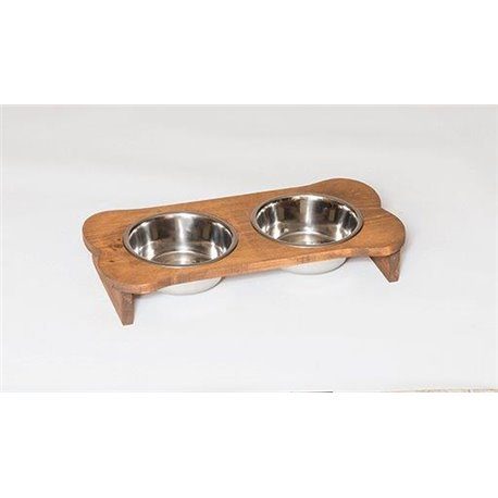 Primitive Rustic Small to Medium Breed Wooden Bone Shaped Doggie Feeder