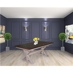 X Base Double Pedestal 6 Foot Rectangle Extension Dining Table