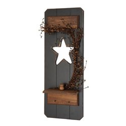 Primitive Rustic Star Cut Out Decorative Window Shutter w/ Taper Candle