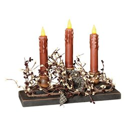 Primitive Triple Candle Centerpiece with Berry Garland