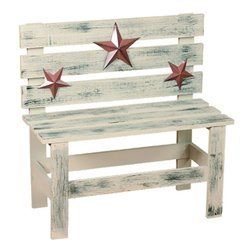 Primitive Wooden Hudson Decorative Picket Bench with Rustic Star Accents
