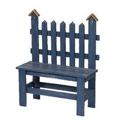 BLUE Primitive Large Wooden Decorative Picket Bench with Bird House Posts