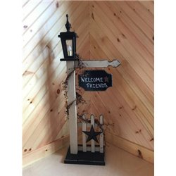 White Post with Black Sign and Black Rustic Star