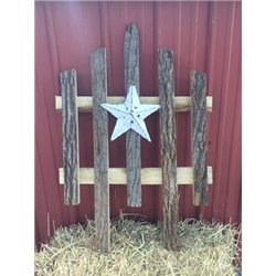 Bark Wood Accent Fence with Rustic Star