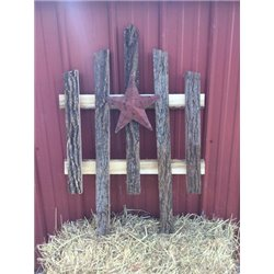 Bark Wood Accent Fence with Red Rustic Star