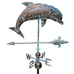 3 Dimensional DOLPHIN Weathervane - Copper Patina Finish