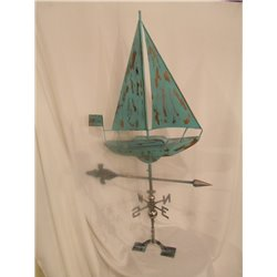 Outdoor 3 Dimensional SAIL BOAT Weathervane - Patina Finish