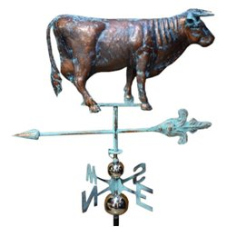 3 Dimensional COW BULL Weathervane - Copper Patina Finish