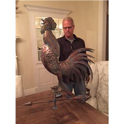 Oversized Outdoor Copper Full Body 3D CROWING ROOSTER Weathervane - Patina Finish