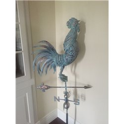 XLARGE 3D Crowing Rooster Weathervane - Copper Patina Finish