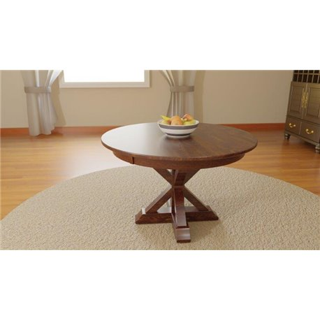 X Base Single Pedestal Round 48 Inch Table Solid Or Expandable